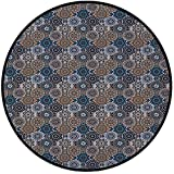 Printing Round Rug,Moroccan,Abstract Composition with Ancient Cultural Rich Flora and Arabian Design Elements Decorative Mat Non-Slip Soft Entrance Mat Door Floor Rug Area Rug For Chair Living Room,Mu