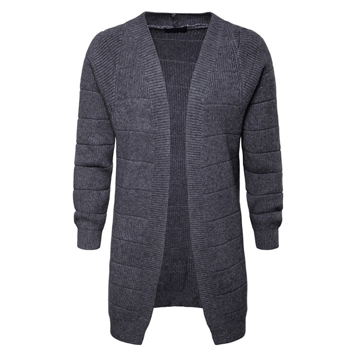 AOWOFS Men's Cardigan Knit Stripe Long Sweater Solid Color Buckleless Casual Long Sleeve