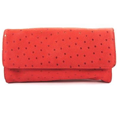 dc6f9a91209a Frandi  L7378  - Sac pochette cuir  Frandi  rouge petits pois (2 ...