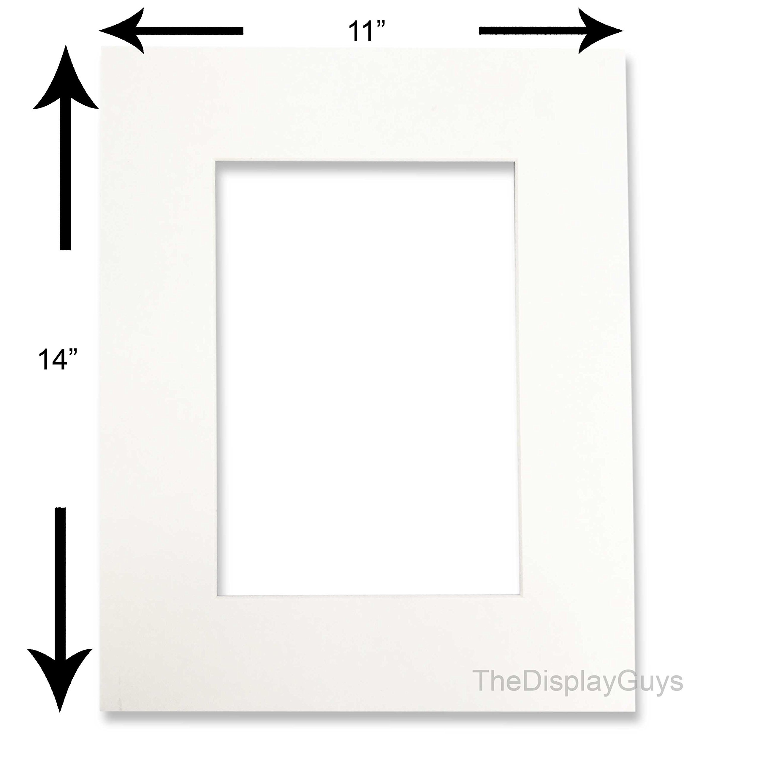 The Display Guys, Pack of 10pcs, Acid-Free White Pre-Cut 11x14 inches Picture Mat for 8x10'' Photo with White Core Bevel Cut Frame Mattes by The Display Guys