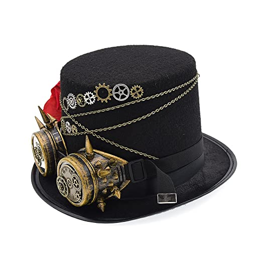 Amazon.com  Vintage Steampunk Hat Victorian Gears Glasses Rose Decor Party  Cosplay Top Hat c5f1383799f9