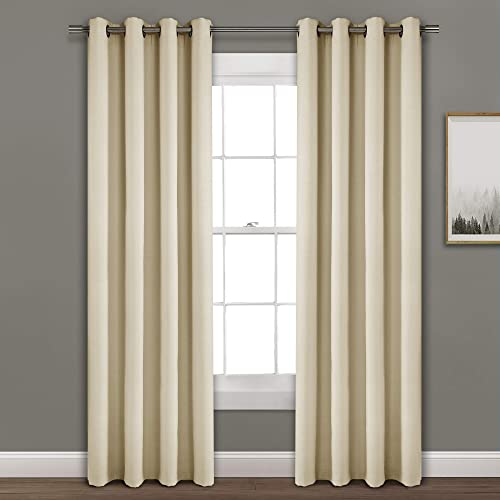 Lush Decor Wheat Faux-Linen Blackout Grommet Window Curtain Panel 84 x 52