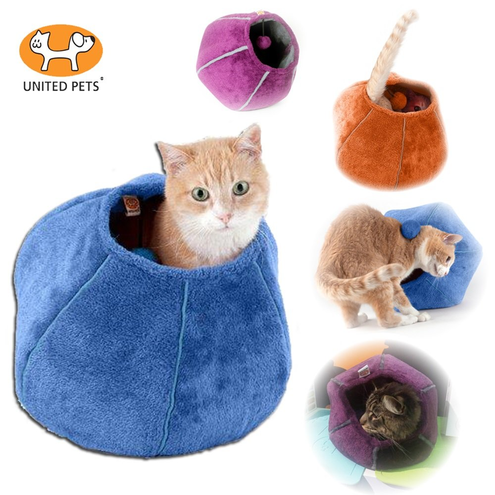 United Pets Kitty Cat Cozy Cave & Bed (Purple)