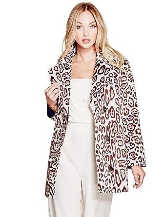 Guess Womens Sally Faux Fur Animal Print Pea Coat Beige XS