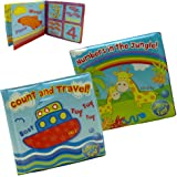 Pack of 2 - One Of Each Jungle/Travel Baby Bath Time Book - Colorful and Waterproof Soft Body Book