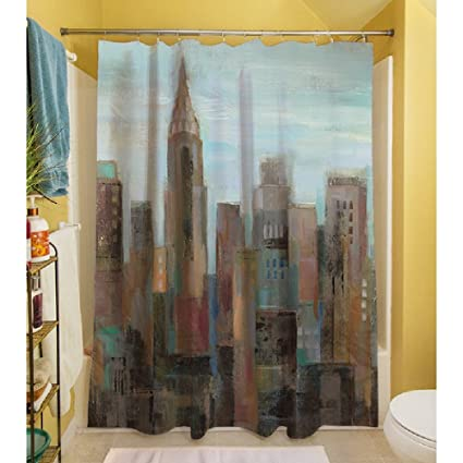 1 Piece Multi Cityscape Themed Shower Curtain All Over Beautiful Graphic Art Work Gorgeous