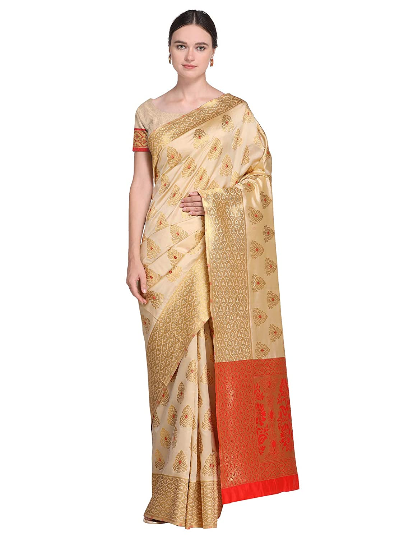 b149c0541 Varayu Women s Cream Color Poly Silk Jacquard (Kanjivaram) Saree(801S11- Cream)  Amazon.in  Clothing   Accessories