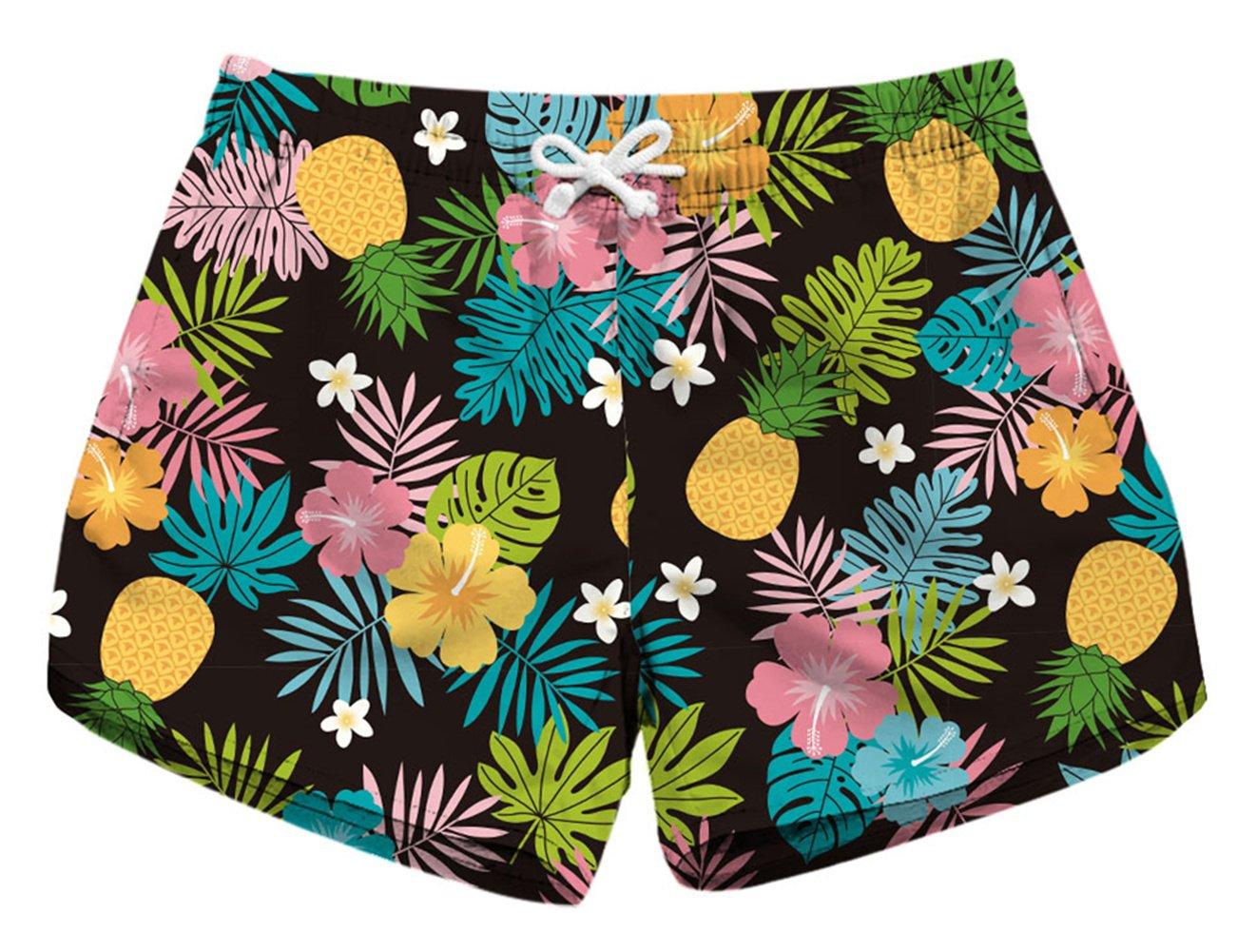 Joyhy Women's Digital Print Beach Boardshorts with Drawstring JY