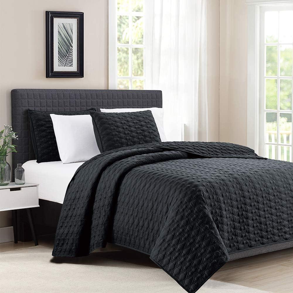 "Bourina Quilt Coverlet Set Embroidery Bedspread 3-Piece Quilt Set Microfiber Lightweight, Queen 90"" x 92"" Black"