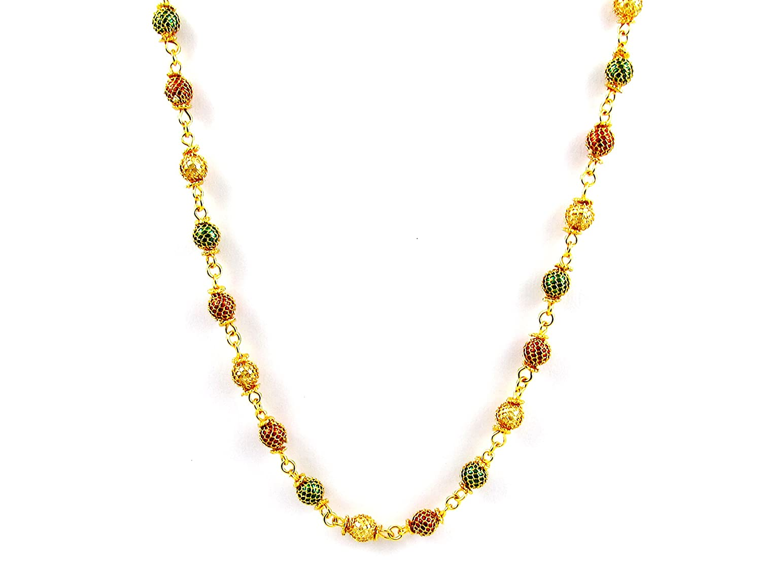 D/&D Crafts Alloy Looks Beautiful With Multi Colour Crystal Beaded Gold Plated Chain//Necklace
