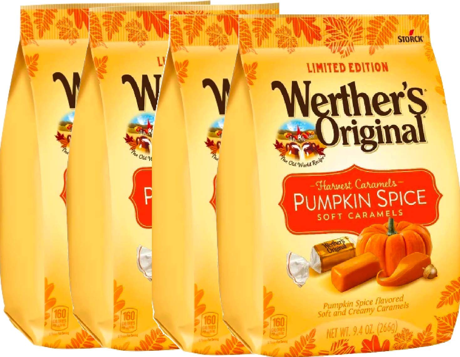 NEW Werther's Original Limited Edition Halloween Pumpkin Spice/ Caramel Apple Soft Caramels - 9.4oz (Pumpkin Spice, 4)