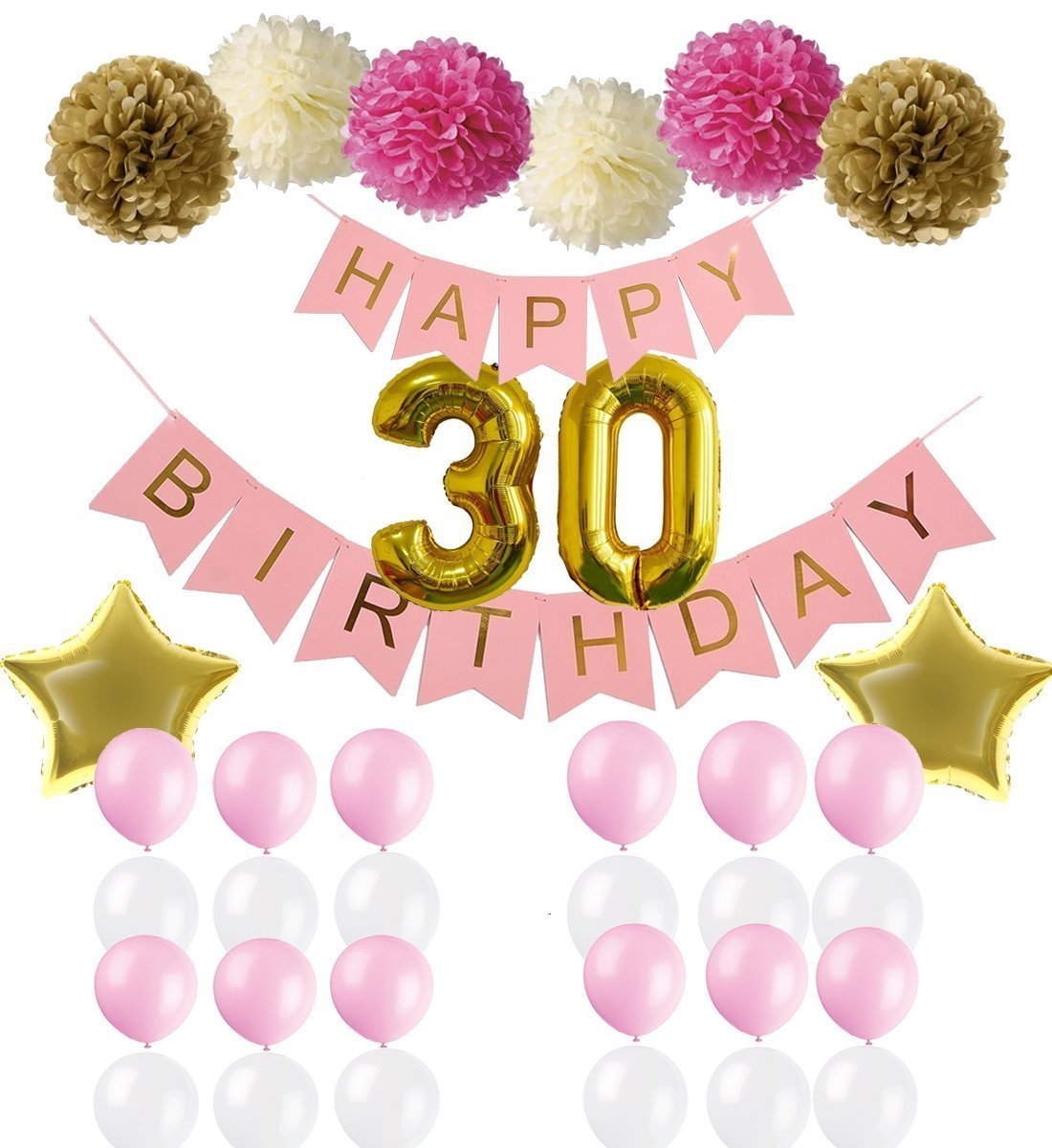 30th Party Decorations Kit,Happy Birthday Banner,30th Gold Number Balloons,pink and white balloon, Rose and Gold Pom Poms Flowers,Perfect for 30 Years Party Supplies Rhincow