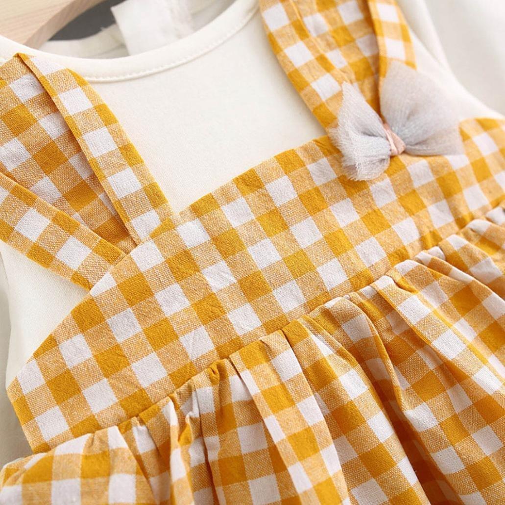 Jarsh Infant Kids Baby Girl Long Sleeve Plaid Cartoon Rabbit Ear Dress+Headband Outfits