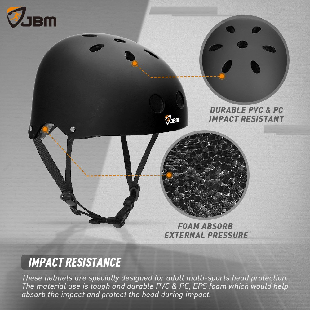 JBM Helmet for Multi-Sports Bike Cycling, Skateboarding, Scooter, BMX Biking, Two Wheel Electric Board and Other Sports [Impact Resistance] (Black, Adult) by JBM international (Image #3)