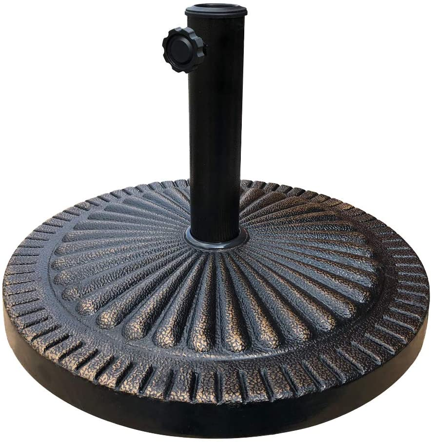 HOMEFUN Patio Umbrella Base 26lbs Cast Stone Rust Free Outdoor Cement Square Heavy Duty 19-in Diameter