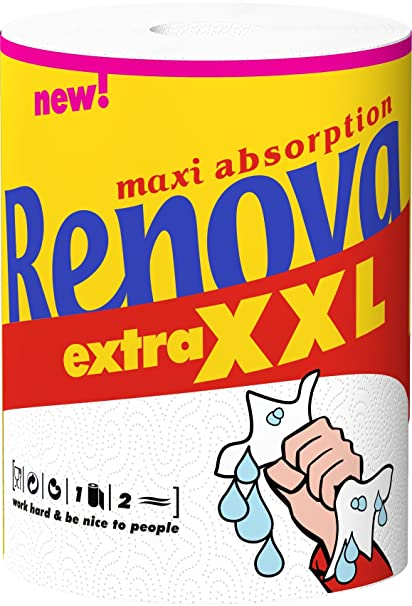 Renova 200058150 - Maxiabsorption, Rollos de cocina XXL, Triple, Blanco - 1 Rollo