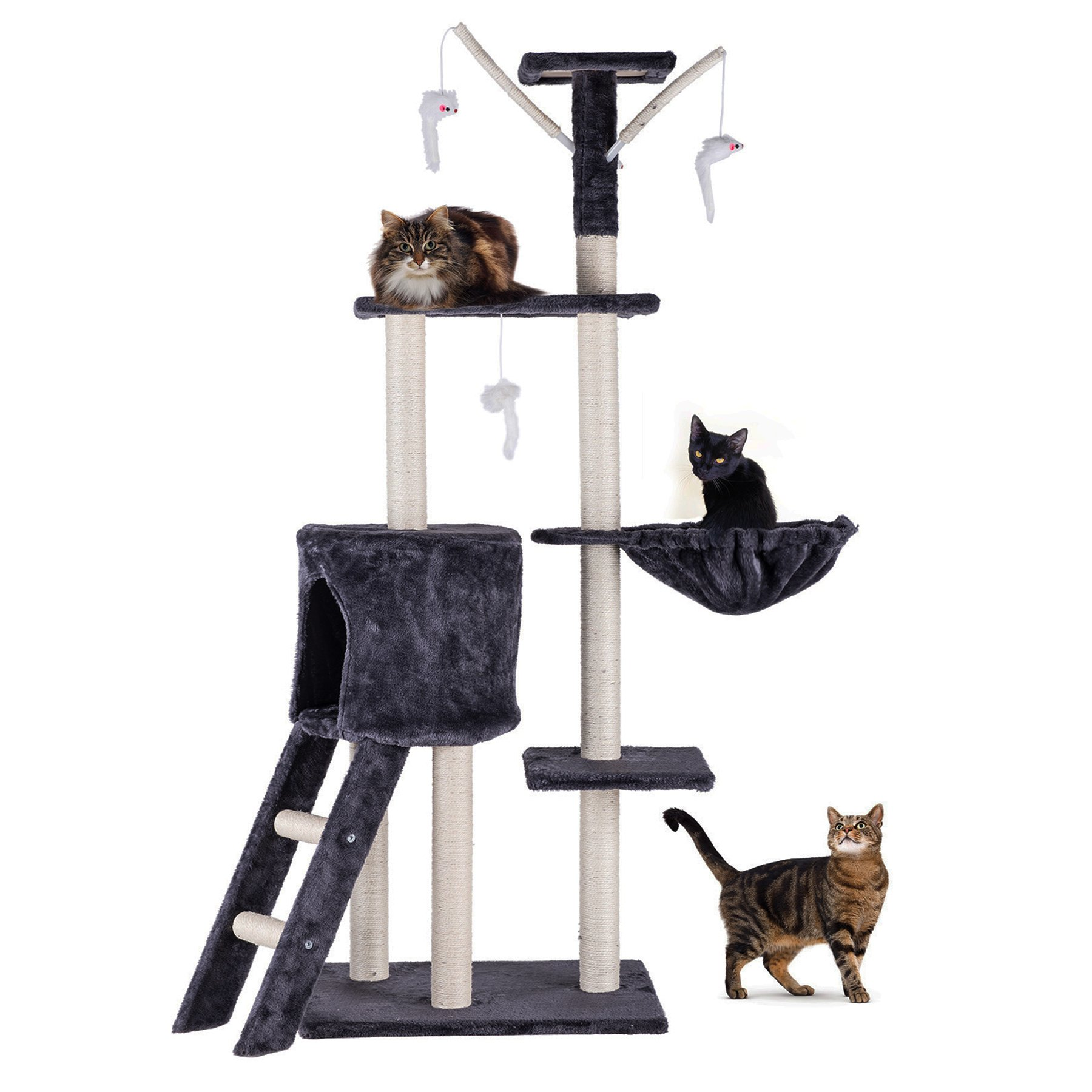 CO-Z 5 Levels Cat Tower Tree House Kitty Scratcher Play House Furniture Stain-Resistant Condo 5 Tiers with Toys (Dark Brown)