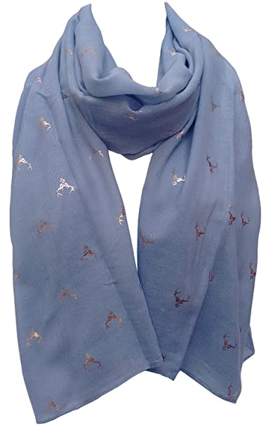 Stag Scarf Ladies Large Navy Blue Silver Foil Stags Deer Wrap Shawl