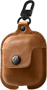 Twelve South AirSnap | Leather Protective Case/Cover with Loss Prevention Clip for AirPods & Wireless Charging Case for AirPods, Cognac