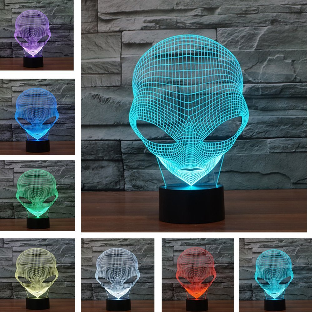 3D Table Lamp,KINGCOO 3D Alien Shapes Optical Illusion Visual Night Light 7 Color Change USB Touch Button LED Desk Atmosphere Lamp,Baby Gift(Hot Man)