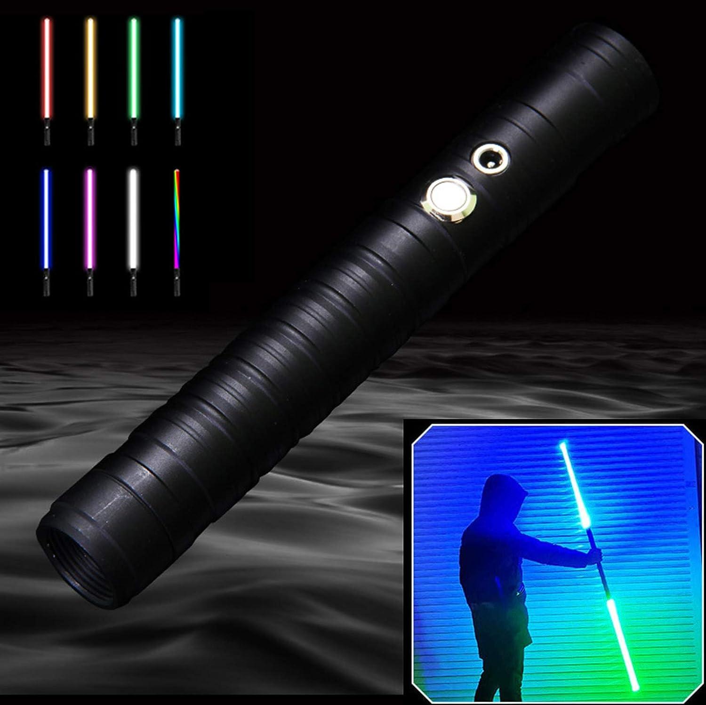 MZYKA 2pcs Screals Suplicable, Espada Brillante, Espada láser de Carga USB, 8 Modos de Color Claro y Efectos de Sonido de Combate de Alta simulación, Mango de Metal