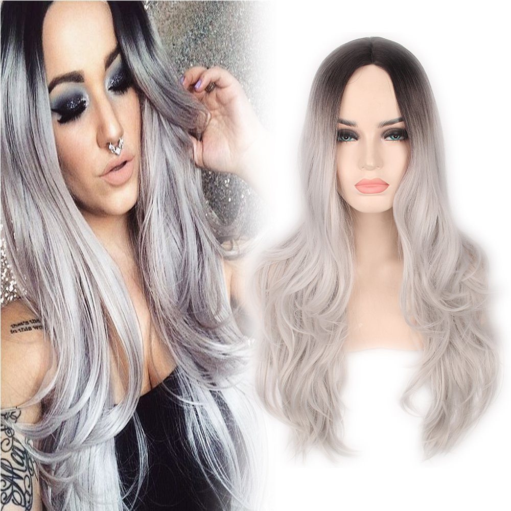 YOPO® Grey Ombre Long Wig - Silver Gray Ombre wigs Dark Roots Long Curly Synthetic Hair Full wigs for Women with Free Mirror and Wig Cap