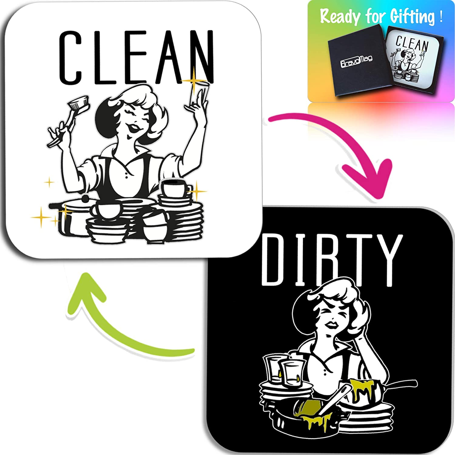 BravoMag Dishwasher Magnet Clean Dirty - Flip Sign, Double Sided - Black White - Funny Gift - 3.2 x 3.2 Inch