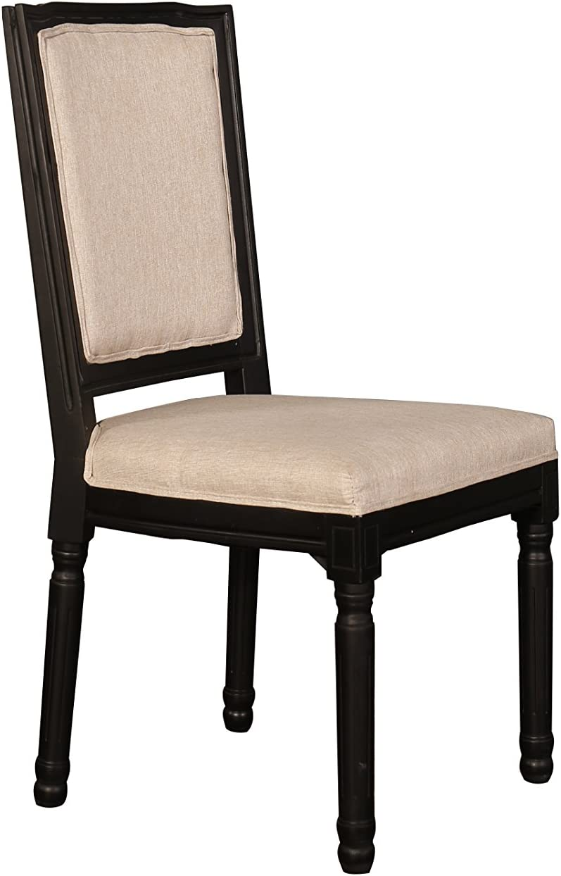 2 Piece Kitchen Rustic Distressed Dining Room Chairs Black