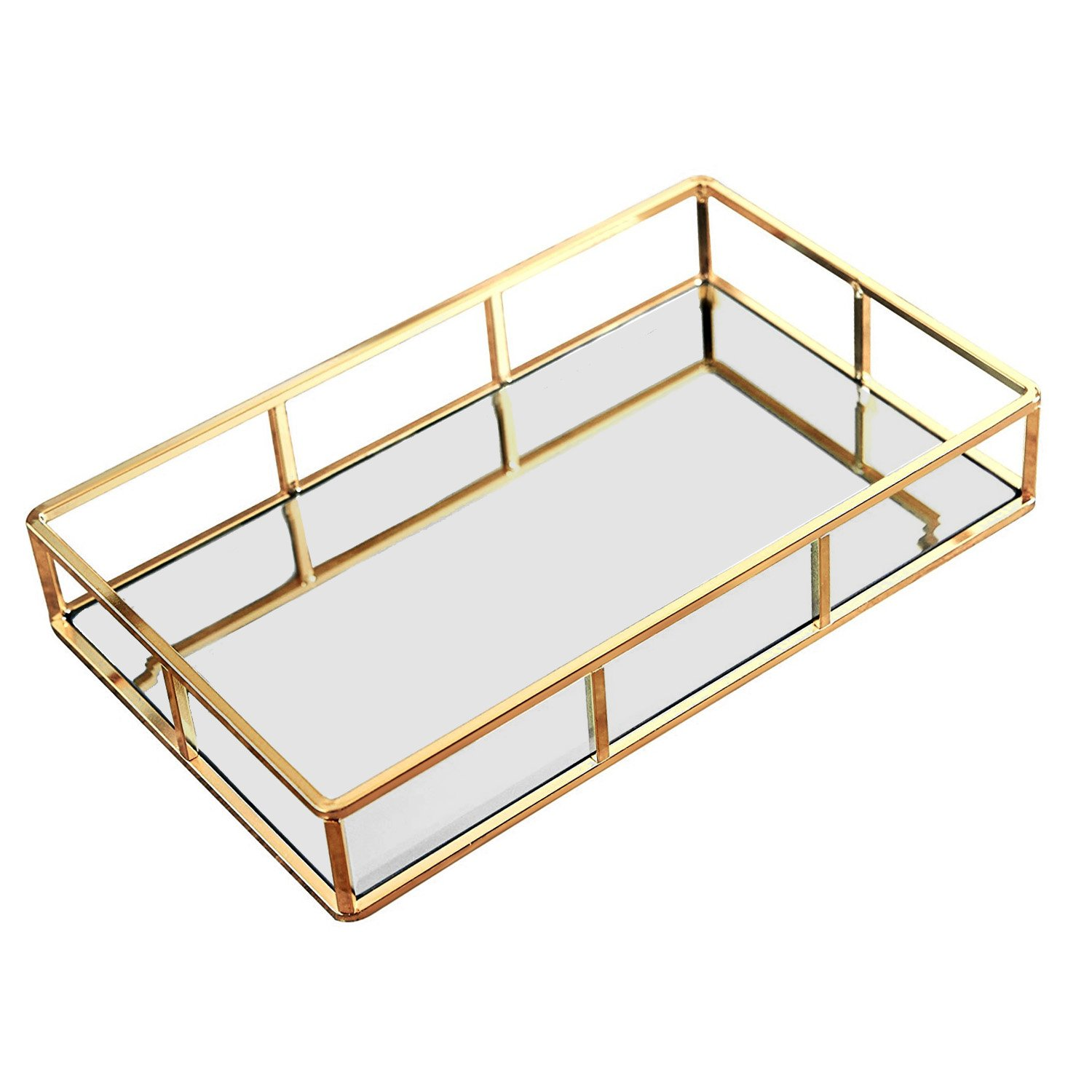 Hersoo Vintage Mirrored Glass Metal Tray for Makeup /&Jewelry Organizer Ornate Decorative for Vanity DesignD