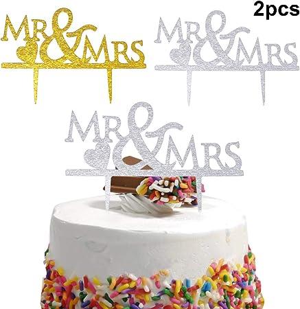 Dokpav 2PCS Mariage Gâteau Topper, Cake Topper Mariage, Mr & Mrs Gâteau Topper, Mariage Gâteau Décoration, Mariage Décorations de Gâteau, Acrylique