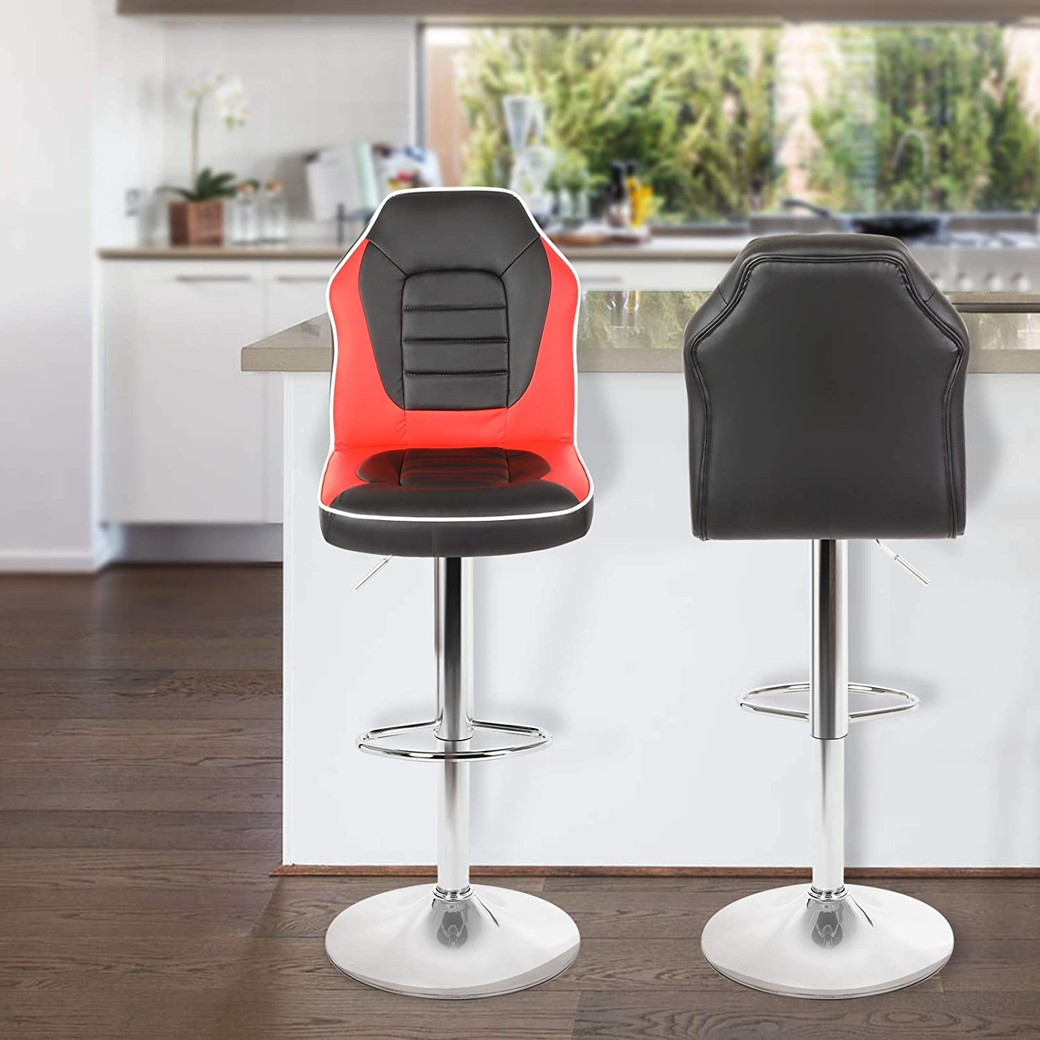 Magshion Extra Comfort Modern Racing Seat Bar Stools Chair Adjustable Swivel Mixed Color Set of 2 (Black/Red)