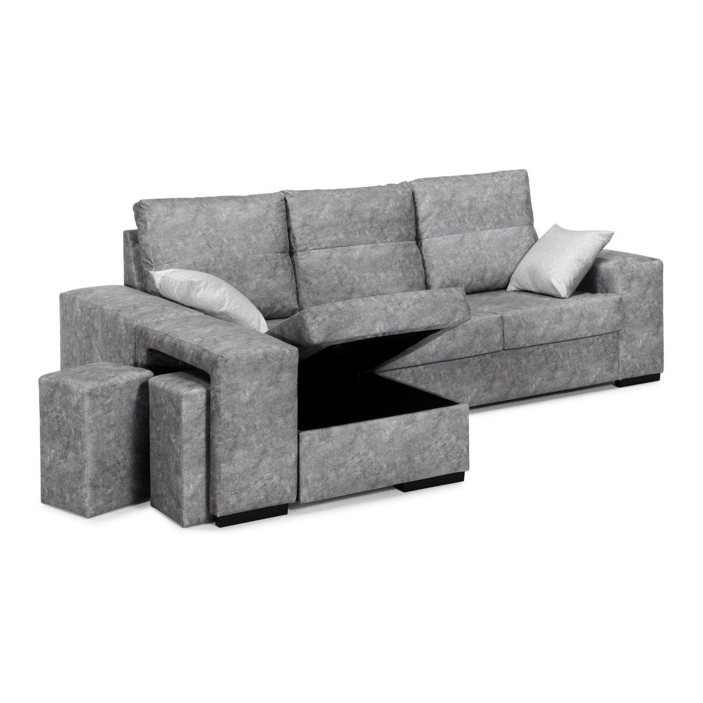 Mueble Sofa con Chaise Longue y Arcon abatible 3 plazas ...