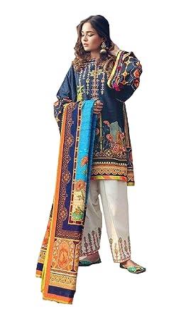 cb203ab9 Madeesh Pakistani Suit for Women, Embroidered Cotton Paki Style Top, Lawn  Bottom, Chiffon