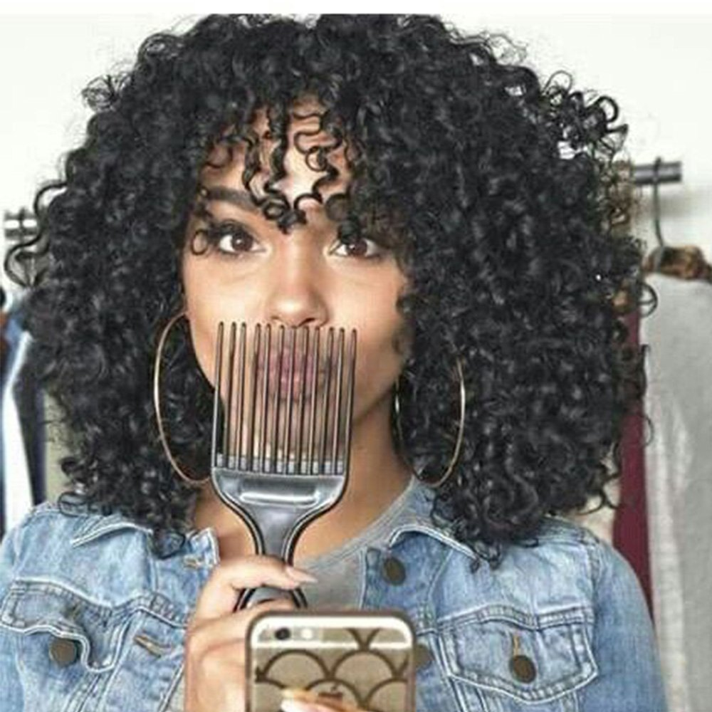 14'' Short Kinky Curly Wigs Afro Curly Hair Wigs Jet Black Heat Resistance Fiber for Black Women (Weight 290g) by UQinZ