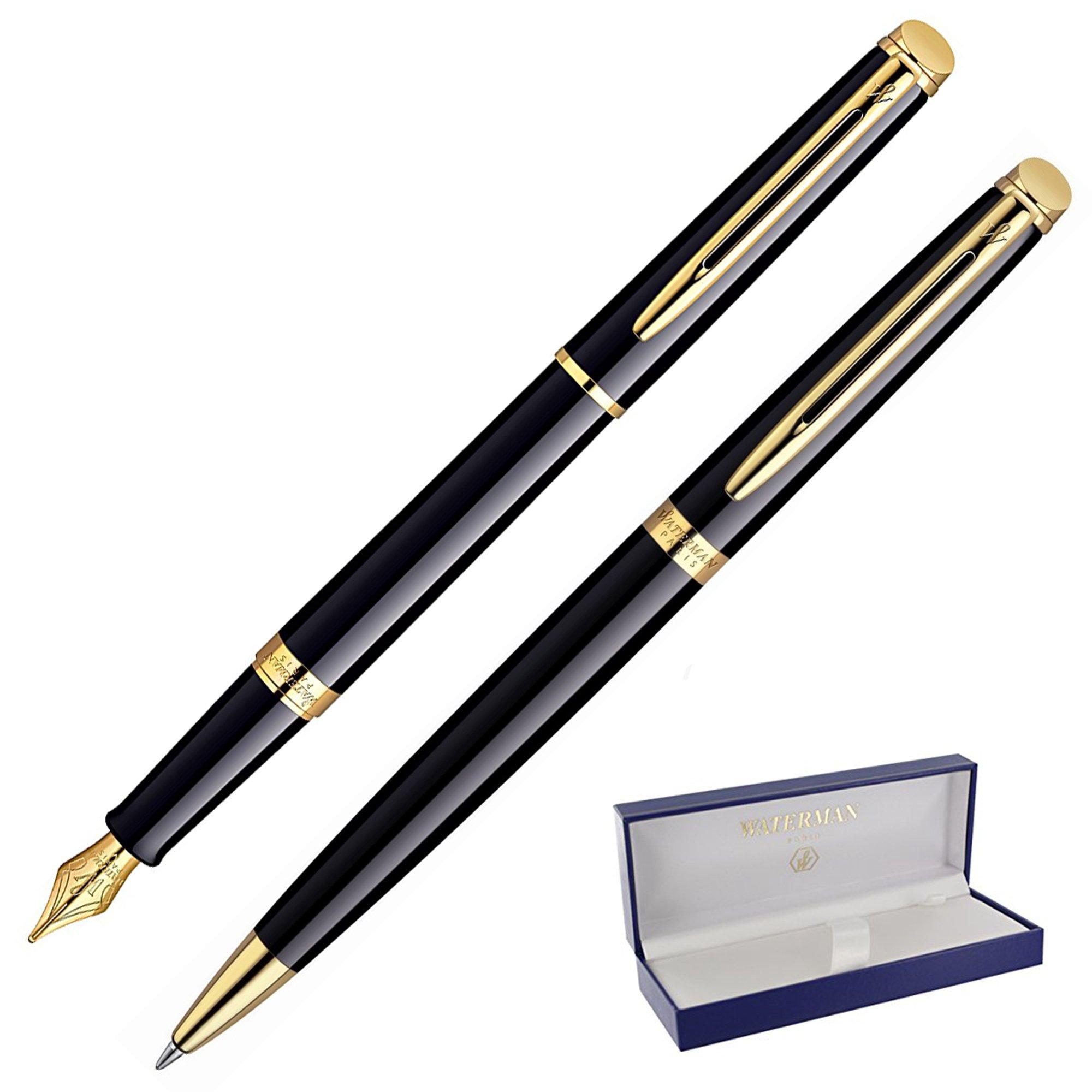 Dayspring Pens - Personalized WATERMAN Hemisphere Fountain & Ballpoint Gift Pen Set - Black. Custom Engraved Fast!