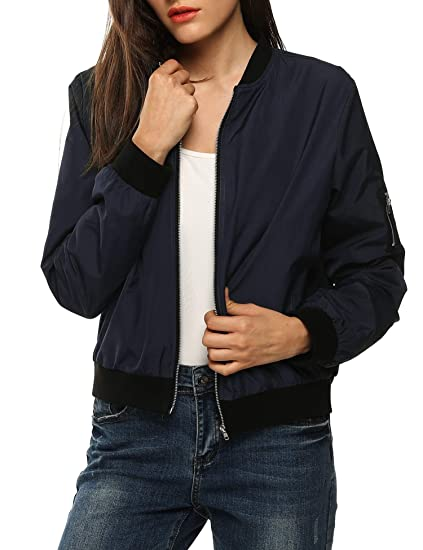 Asatr Womens Classic Short Padded Bomber Jacket Coat Quilted Jacket