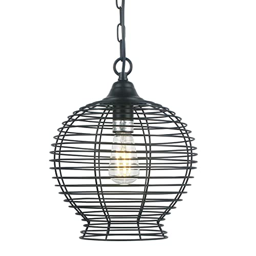 Industrial Lighting Ceiling Hanging Pendant Light Fixture, Retro Matte Black Lighting with Metal Cage, Hanging Ceiling Light Fixture for Kitchen Bedroom Bar 1 Pack Not Include Bulbs