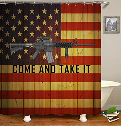 SARA NELL American Flag With Gun Shower Curtain Bath For Bathroom Waterproof Polyester