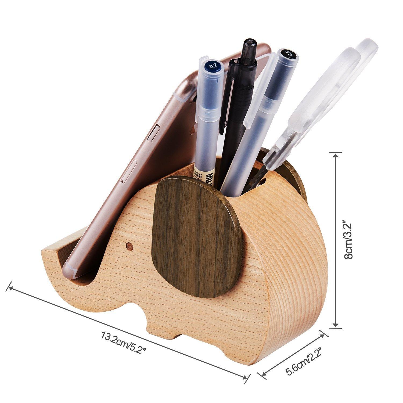 Arta-0058-fr Penna in legno a forma di elefante portapenne con supporto per telefono cellulare organizer da scrivania