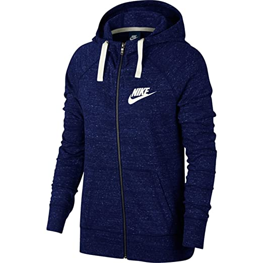 7428faecd93b1 Nike Womens Gym Vintage Full Zip Hooded Sweatshirt Blue Void/Sail  883729-478 Size Medium