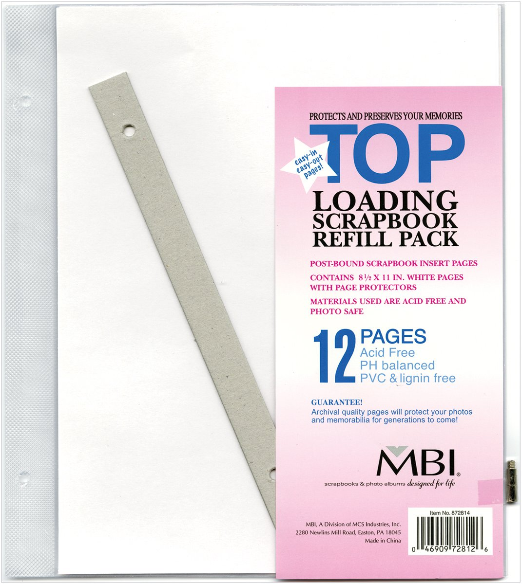 MCS MBI 8.5x11 Inch Scrapbook Expansion Page Refills, 6 Count (872814) MCS Industries Inc.