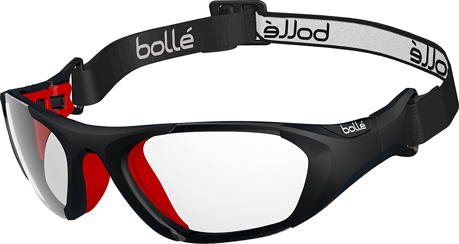bollé Baller Sport Protective Glasses w/Strap Black and Red Polycarbonate Lens w/Anti-Fog and Anti-Scratch Unisex-Adult Large