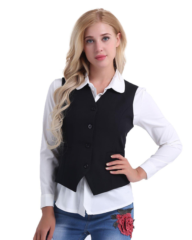 Freebily Office Lady Vest Women Short Waistcoat Business Dress V Neck Uniform Formal Black X-Large(Waist:32.0''/82cm)
