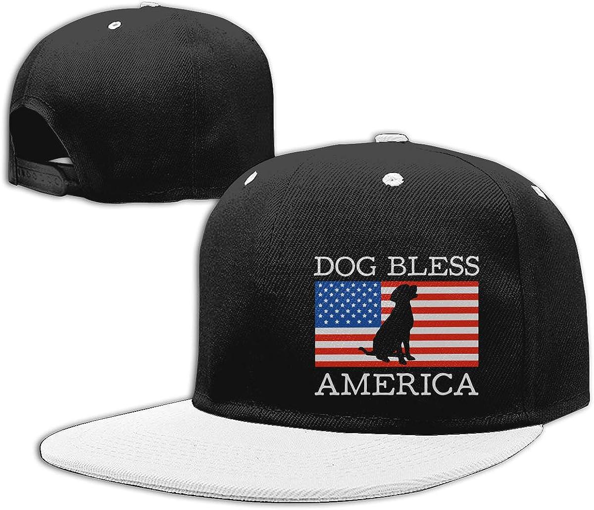 Women Men Punk Rock Cap Dog Bless America Classic Flat Peaked Baseball Caps