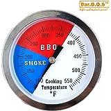 """Bar.b.q.s 3"""" 550F BBQ Charcoal Grill Pit Wood Smoker Temp Gauge Grill Thermometer With 3"""" Stem SS RWB"""