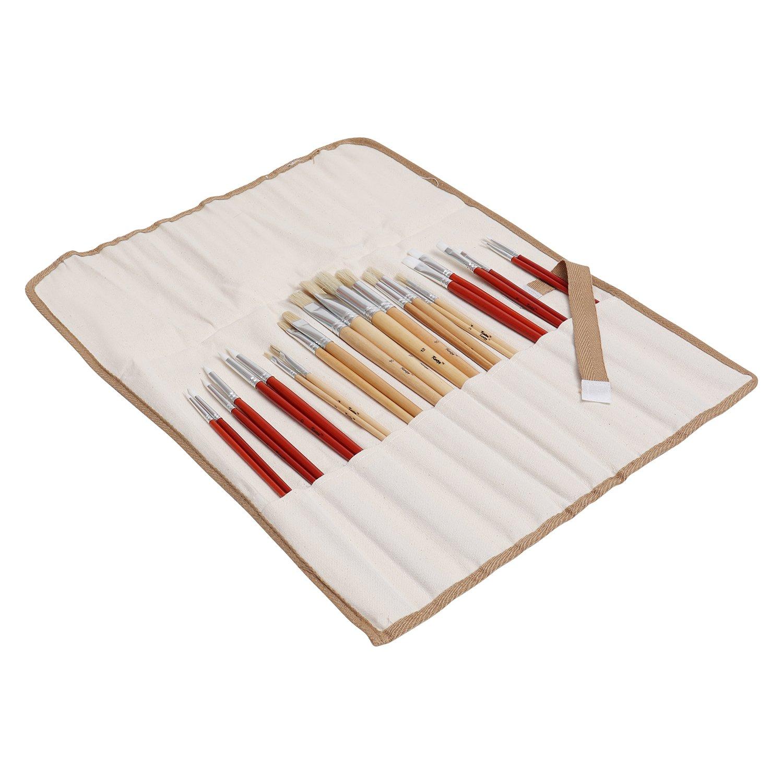 Pinsel Set Flachpinsel Blau (50 Stk) L17xB6cm Künstlerpinsel Set mit Orangenen Borsten Pinselset Malen, Schattieren, Mischen, Trockenbürsten, Öl&Deckmalerei, Pinselset Acrylfarben, Aquarellpinsel Set