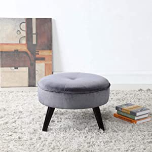 Divano Roma Furniture Classic Tufted Large Velvet Round Footrest/Footstool/Ottoman (Grey)