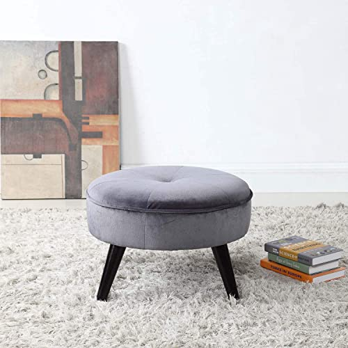 Divano Roma Furniture Round Tufted Velvet Footrest, Footstool, Coffee Table Light Grey Small Large Space Home and Living Room, Circular Foot Rest Stool Ottoman