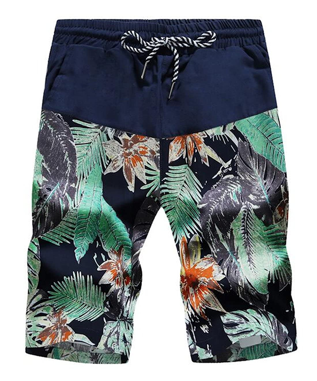 Nanquan Men NQ Mens Summer Drawstring Elastic Waist Floral Print Beach Shorts