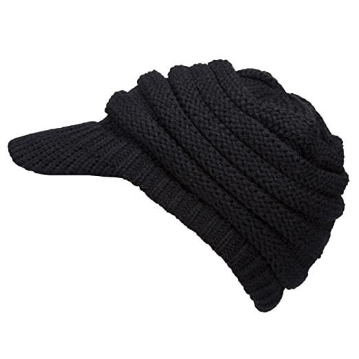 GRAMONI Exclusives Women s Winter Ribbed Brim Knit Hat Snow Ski Warm Cap  With Visor (Black ec0f115f98d